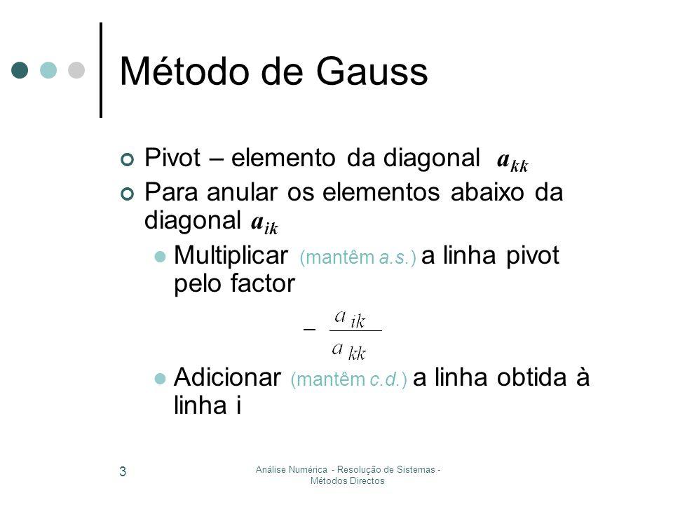 Análise Numérica - Resolução de Sistemas - Métodos Directos 3 Método de Gauss Pivot – elemento da diagonal a kk Para anular os elementos abaixo da diagonal a ik Multiplicar (mantêm a.s.) a linha pivot pelo factor Adicionar (mantêm c.d.) a linha obtida à linha i