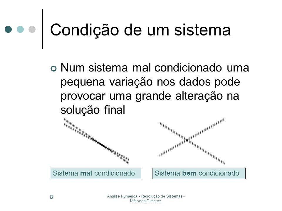 Análise Numérica - Resolução de Sistemas - Métodos Directos 9 Como se mede a condição.