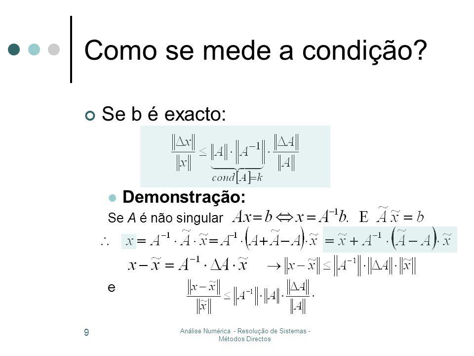 Análise Numérica - Resolução de Sistemas - Métodos Iterativos 20 Condições suficientes de convergência Definição Uma matriz é estritamente diagonal dominante por linhas (colunas) se Matriz estritamente dominanteJacobi convergente