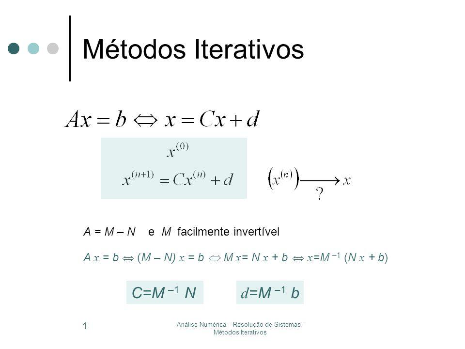 Análise Numérica - Resolução de Sistemas - Métodos Iterativos 2 Teorema do ponto fixo Para sistemas  (x) = M –1 (N x + b) Cálculo do erro = ║ M -1 N ║ e 0 < < 1 ( - constante de Lipschitz)