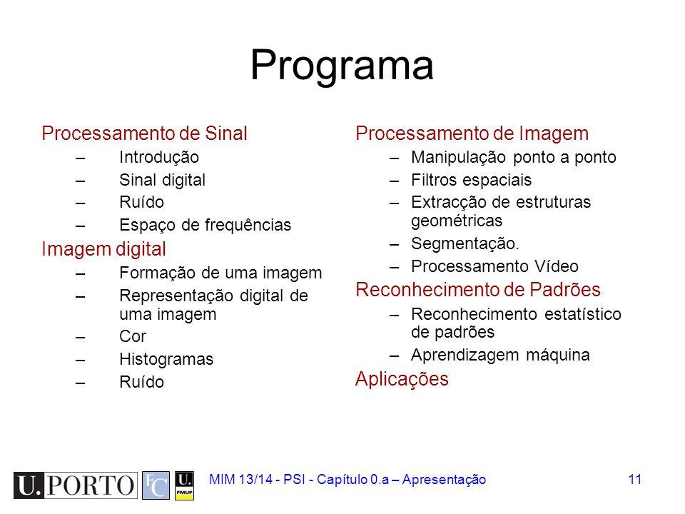 MIM 13/14 - PSI - Capítulo 0.a – Apresentação11 Programa Processamento de Sinal –Introdução –Sinal digital –Ruído –Espaço de frequências Imagem digita