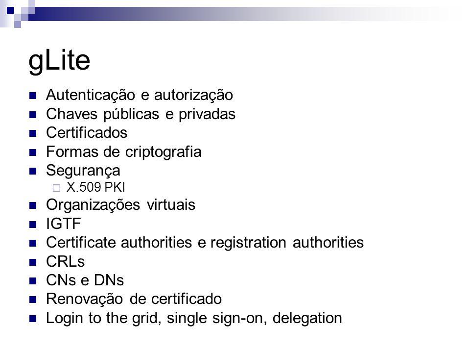 gLite Autenticação e autorização Chaves públicas e privadas Certificados Formas de criptografia Segurança  X.509 PKI Organizações virtuais IGTF Certificate authorities e registration authorities CRLs CNs e DNs Renovação de certificado Login to the grid, single sign-on, delegation