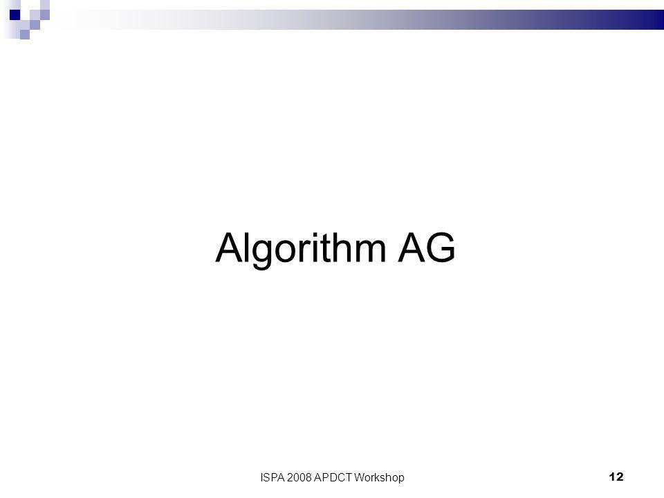 ISPA 2008 APDCT Workshop12 Algorithm AG