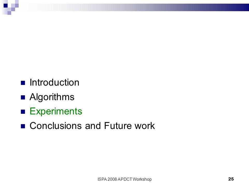 25 Introduction Algorithms Experiments Conclusions and Future work