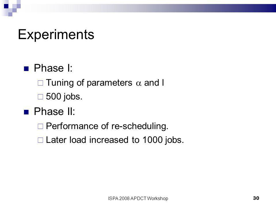 ISPA 2008 APDCT Workshop30 Experiments Phase I:  Tuning of parameters  and l  500 jobs.
