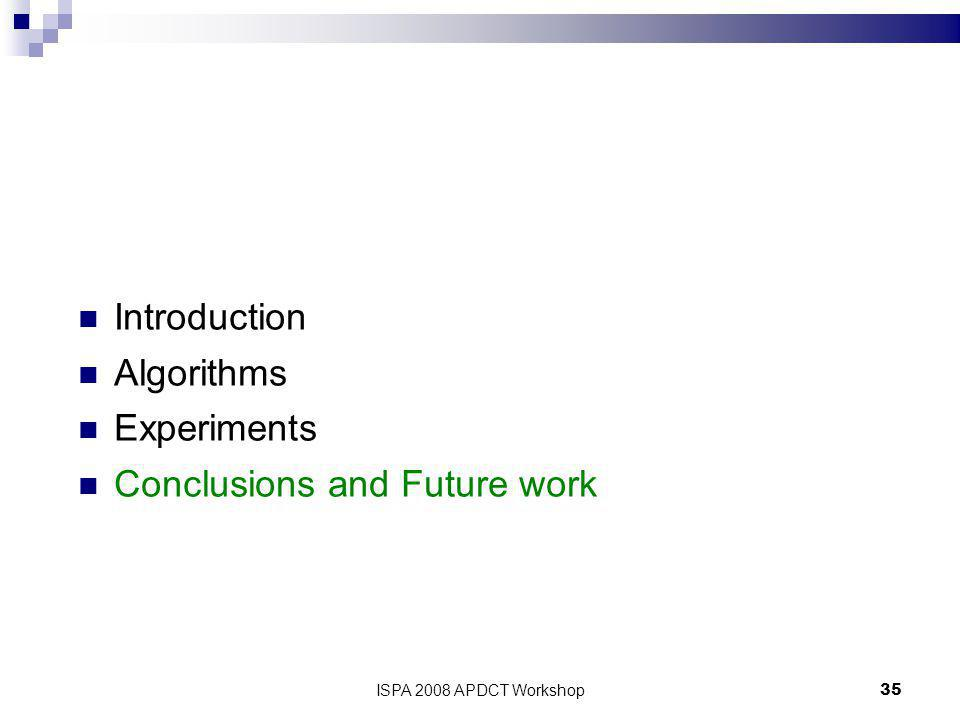 ISPA 2008 APDCT Workshop35 Introduction Algorithms Experiments Conclusions and Future work