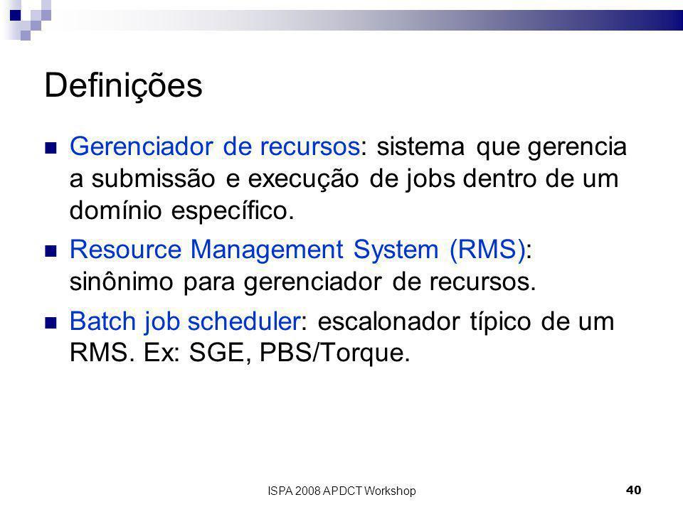 ISPA 2008 APDCT Workshop40 Definições Gerenciador de recursos: sistema que gerencia a submissão e execução de jobs dentro de um domínio específico.