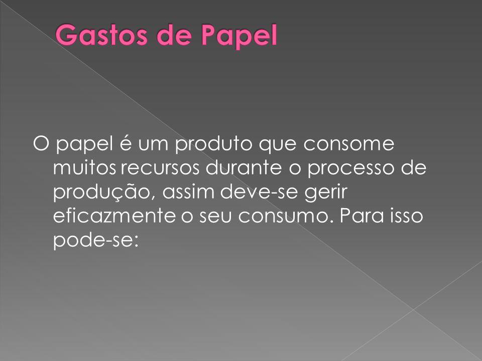 O papel é um produto que consome muitos recursos durante o processo de produção, assim deve-se gerir eficazmente o seu consumo. Para isso pode-se: