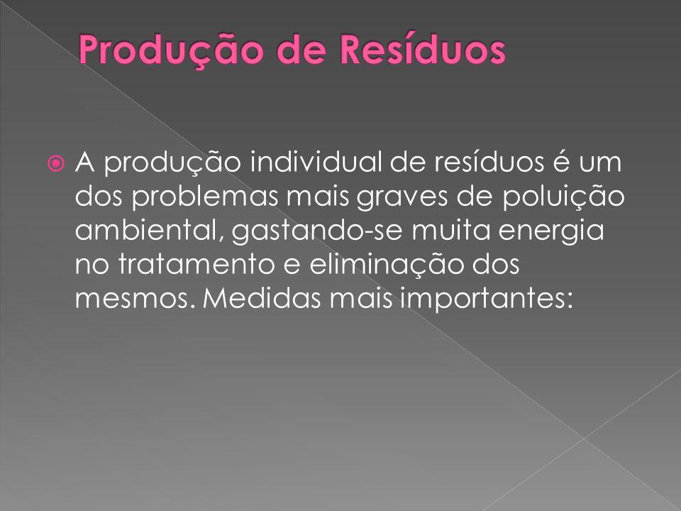  A produção individual de resíduos é um dos problemas mais graves de poluição ambiental, gastando-se muita energia no tratamento e eliminação dos mes
