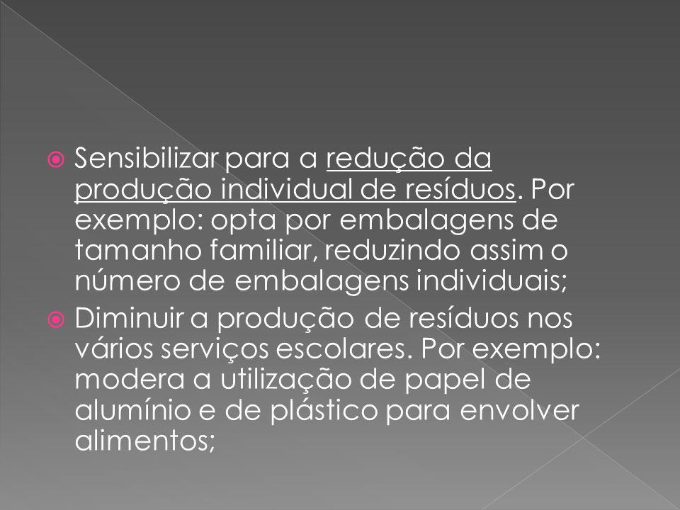  Sensibilizar para a redução da produção individual de resíduos. Por exemplo: opta por embalagens de tamanho familiar, reduzindo assim o número de em