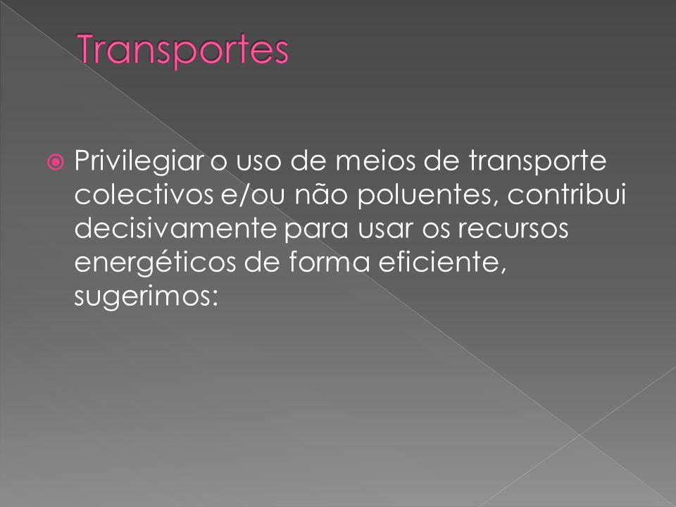  Privilegiar o uso de meios de transporte colectivos e/ou não poluentes, contribui decisivamente para usar os recursos energéticos de forma eficiente