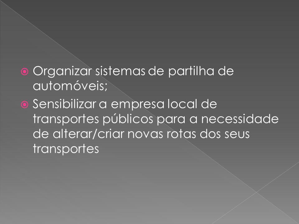  Organizar sistemas de partilha de automóveis;  Sensibilizar a empresa local de transportes públicos para a necessidade de alterar/criar novas rotas