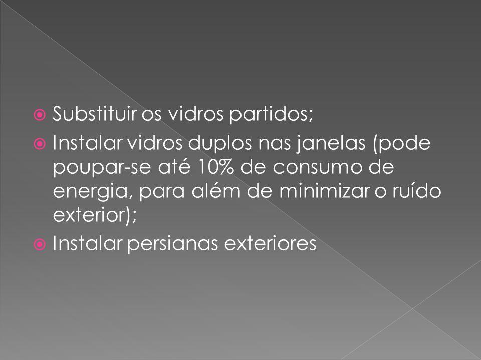  Substituir os vidros partidos;  Instalar vidros duplos nas janelas (pode poupar-se até 10% de consumo de energia, para além de minimizar o ruído ex