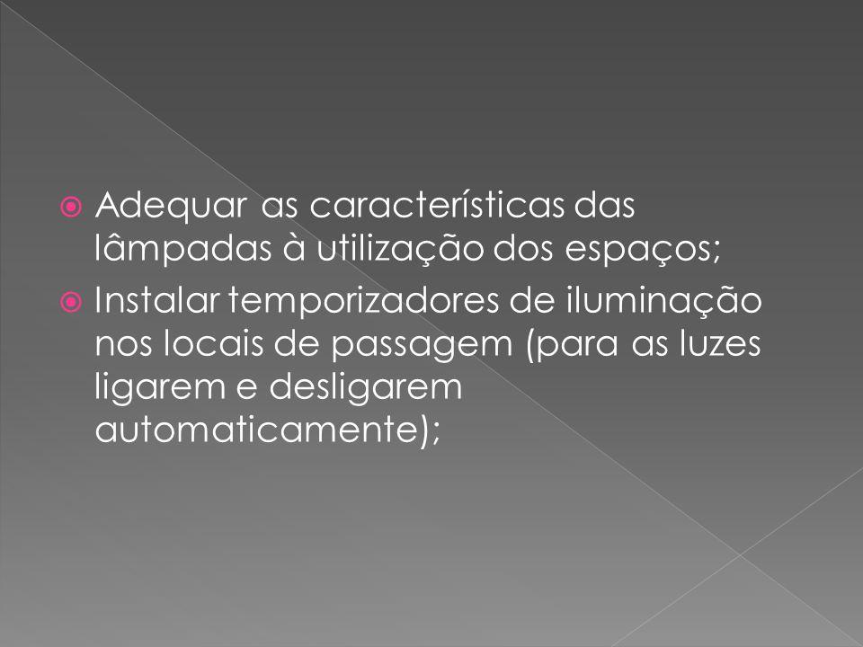  Adequar as características das lâmpadas à utilização dos espaços;  Instalar temporizadores de iluminação nos locais de passagem (para as luzes liga