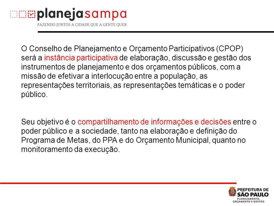 O Conselho de Planejamento e Orçamento Participativos (CPOP) será a instância participativa de elaboração, discussão e gestão dos instrumentos de planejamento e dos orçamentos públicos, com a missão de efetivar a interlocução entre a população, as representações territoriais, as representações temáticas e o poder público.