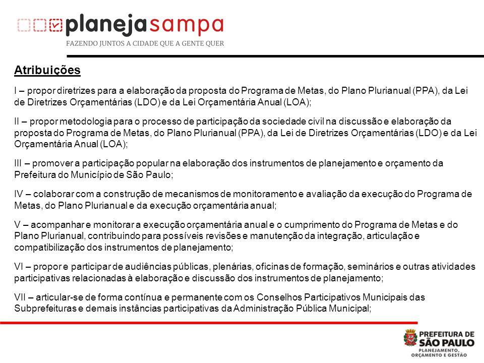 Atribuições I – propor diretrizes para a elaboração da proposta do Programa de Metas, do Plano Plurianual (PPA), da Lei de Diretrizes Orçamentárias (L