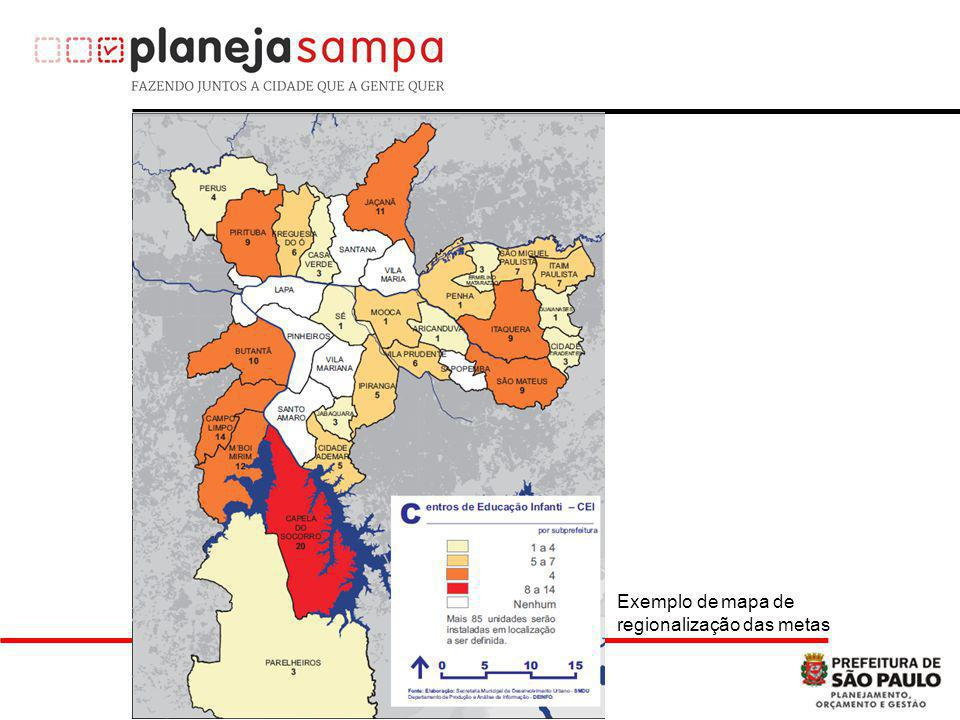 Exemplo de mapa de regionalização das metas