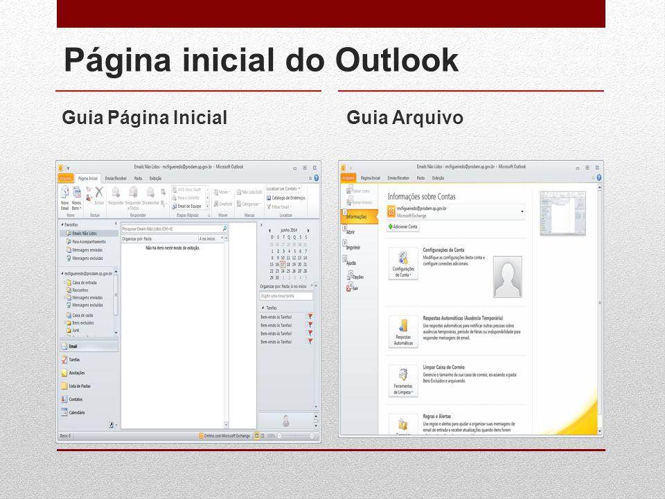 Página inicial do Outlook Guia Página InicialGuia Arquivo
