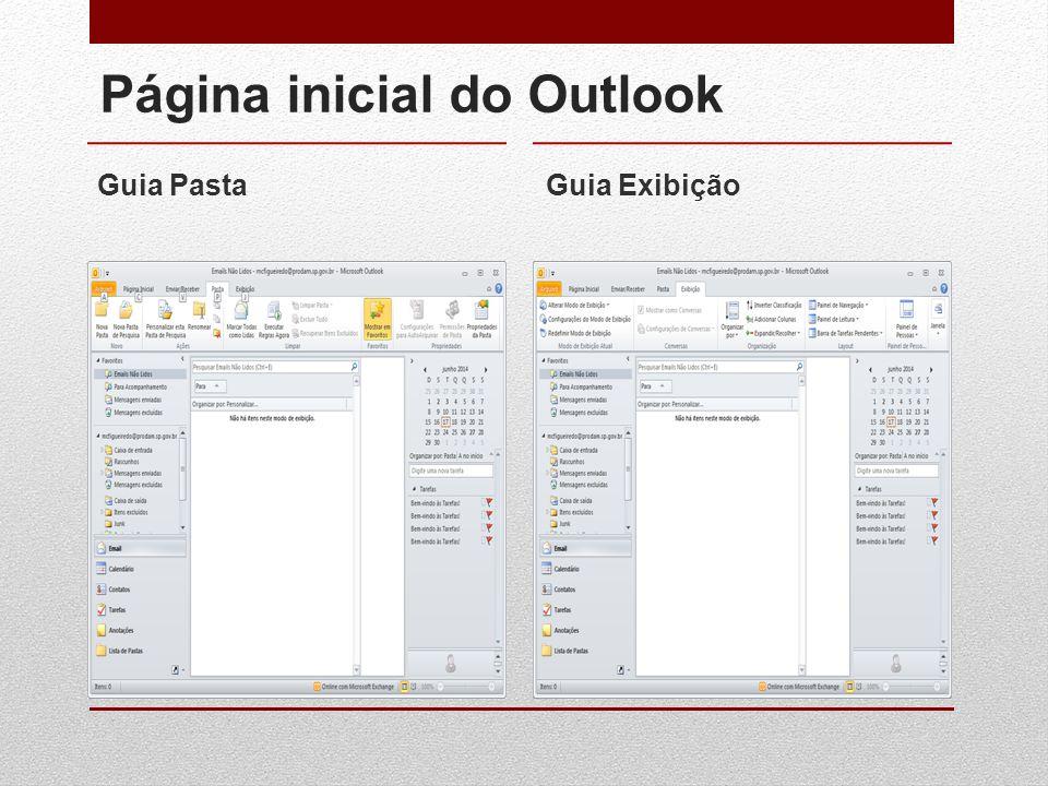 Página inicial do Outlook Guia PastaGuia Exibição