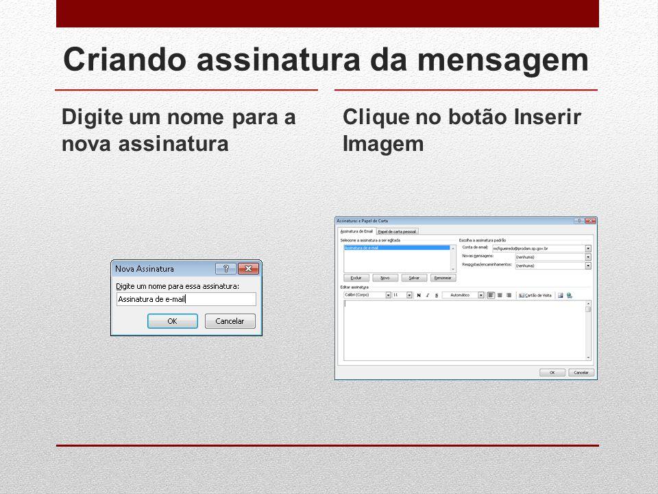 Criando assinatura da mensagem Digite um nome para a nova assinatura Clique no botão Inserir Imagem
