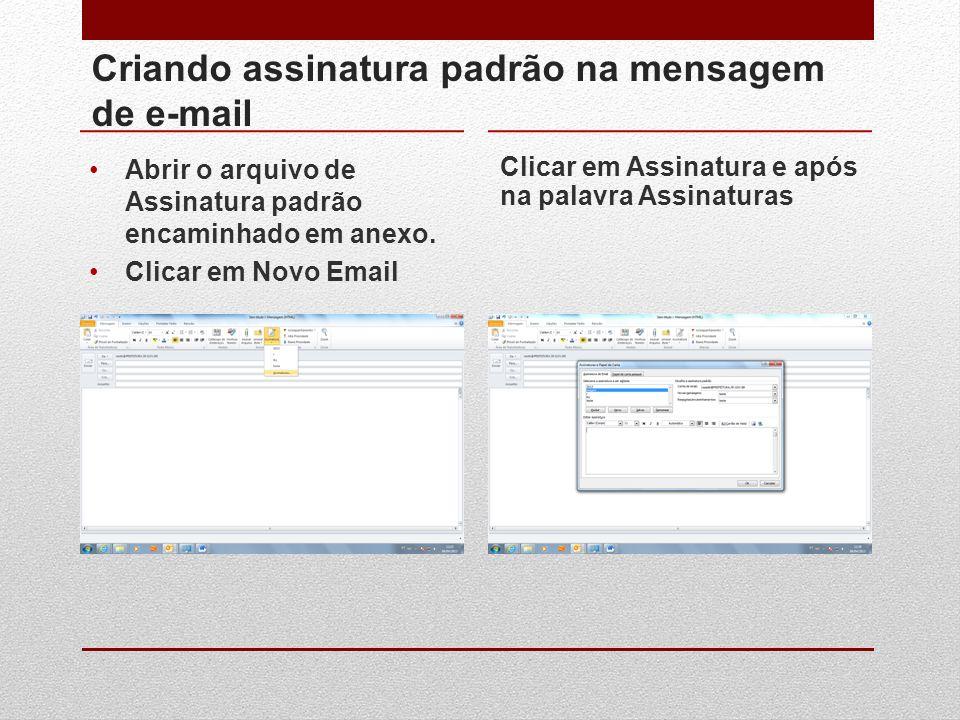 Criando assinatura padrão na mensagem de e-mail Abrir o arquivo de Assinatura padrão encaminhado em anexo. Clicar em Novo Email Clicar em Assinatura e