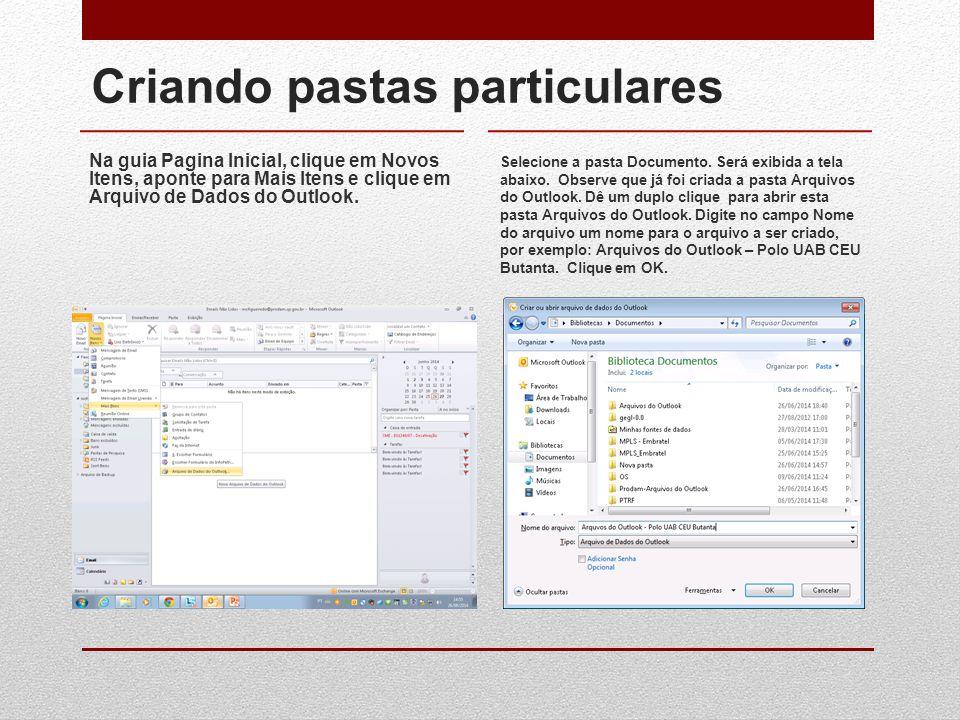 Criando pastas particulares Na guia Pagina Inicial, clique em Novos Itens, aponte para Mais Itens e clique em Arquivo de Dados do Outlook. Selecione a