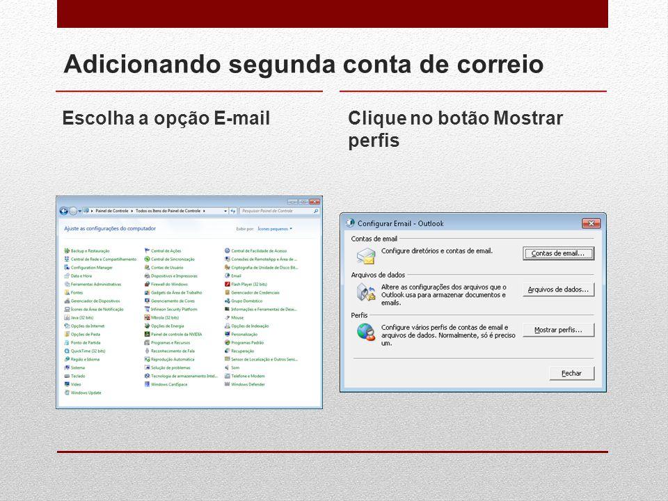 Adicionando segunda conta de correio Escolha a opção E-mailClique no botão Mostrar perfis