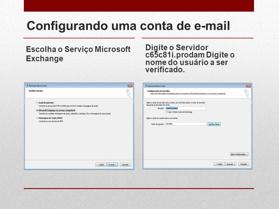 Configurando uma conta de e-mail Escolha o Serviço Microsoft Exchange Digite o Servidor c65c81i.prodam Digite o nome do usuário a ser verificado.