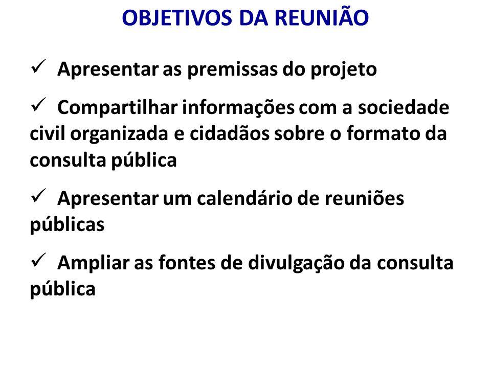 OBJETIVOS DA REUNIÃO Apresentar as premissas do projeto Compartilhar informações com a sociedade civil organizada e cidadãos sobre o formato da consul