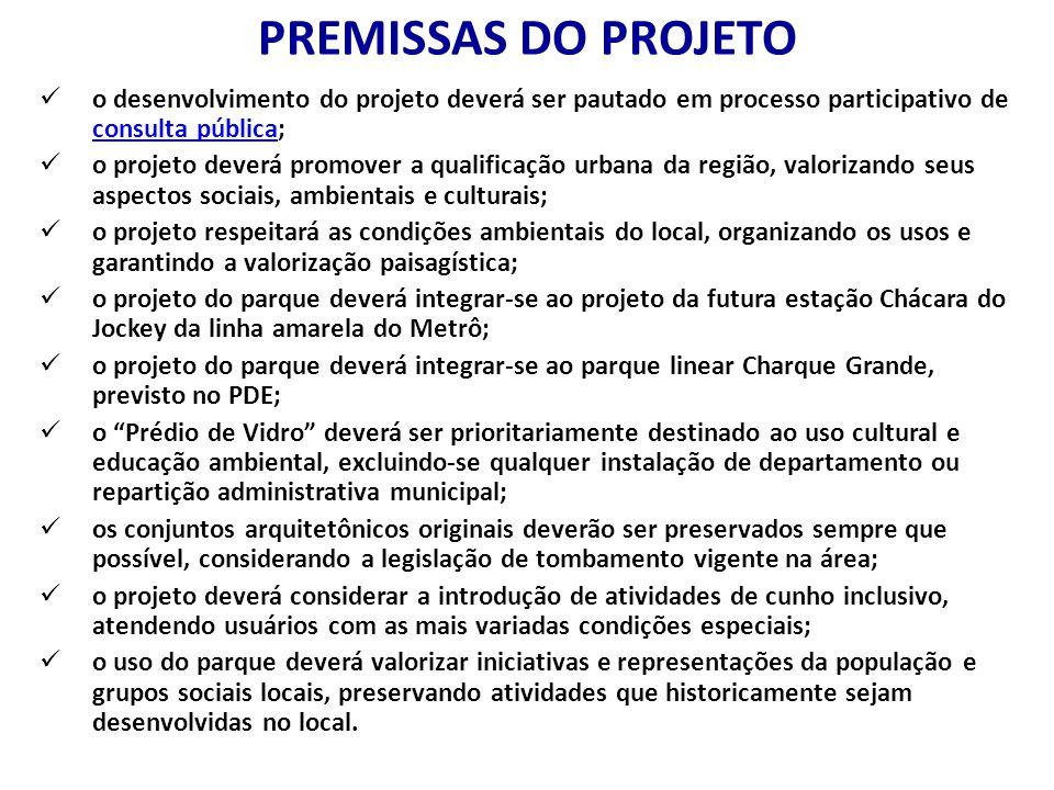 PREMISSAS DO PROJETO o desenvolvimento do projeto deverá ser pautado em processo participativo de consulta pública; consulta pública o projeto deverá