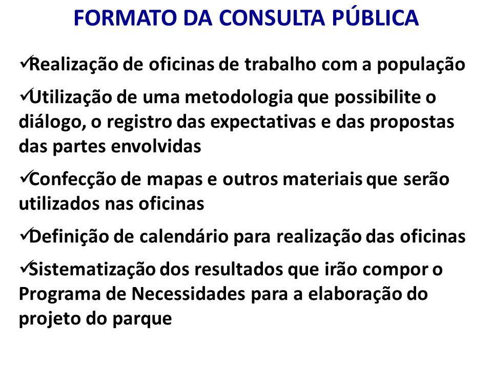FORMATO DA CONSULTA PÚBLICA Realização de oficinas de trabalho com a população Utilização de uma metodologia que possibilite o diálogo, o registro das