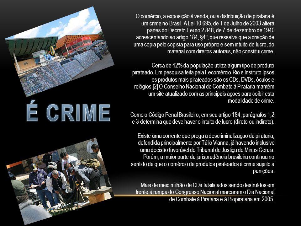 O comércio, a exposição à venda, ou a distribuição de pirataria é um crime no Brasil.