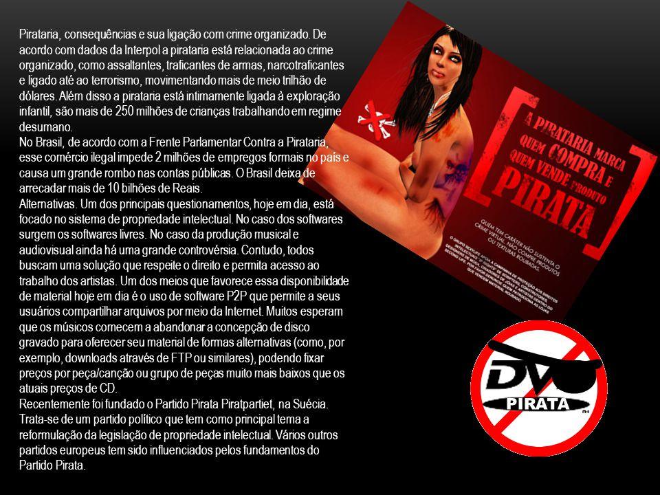 O comércio, a exposição à venda, ou a distribuição de pirataria é um crime no Brasil. A Lei 10.695, de 1 de Julho de 2003 altera partes do Decreto-Lei