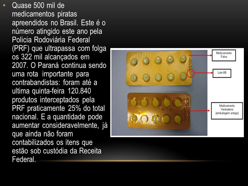 Quase 500 mil de medicamentos piratas apreendidos no Brasil.