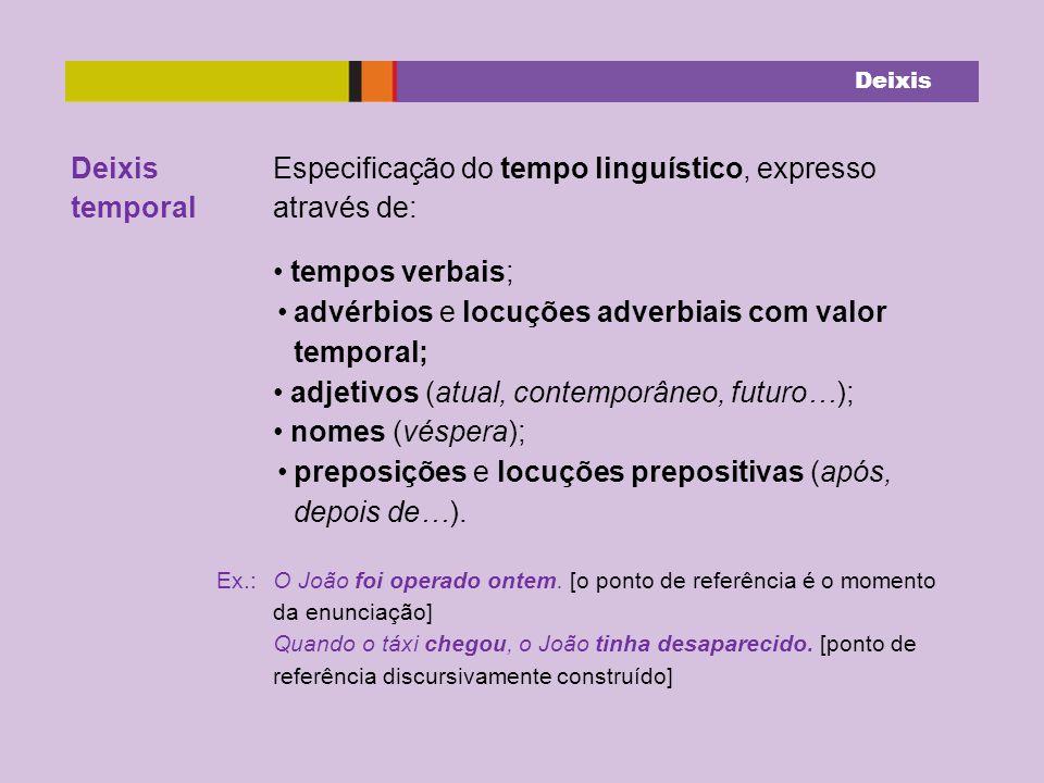 Deixis temporal Especificação do tempo linguístico, expresso através de: tempos verbais; advérbios e locuções adverbiais com valor temporal; adjetivos (atual, contemporâneo, futuro…); nomes (véspera); preposições e locuções prepositivas (após, depois de…).