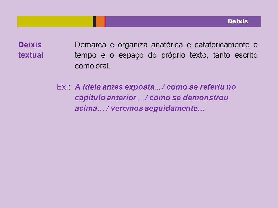 textual Demarca e organiza anafórica e cataforicamente o tempo e o espaço do próprio texto, tanto escrito como oral.