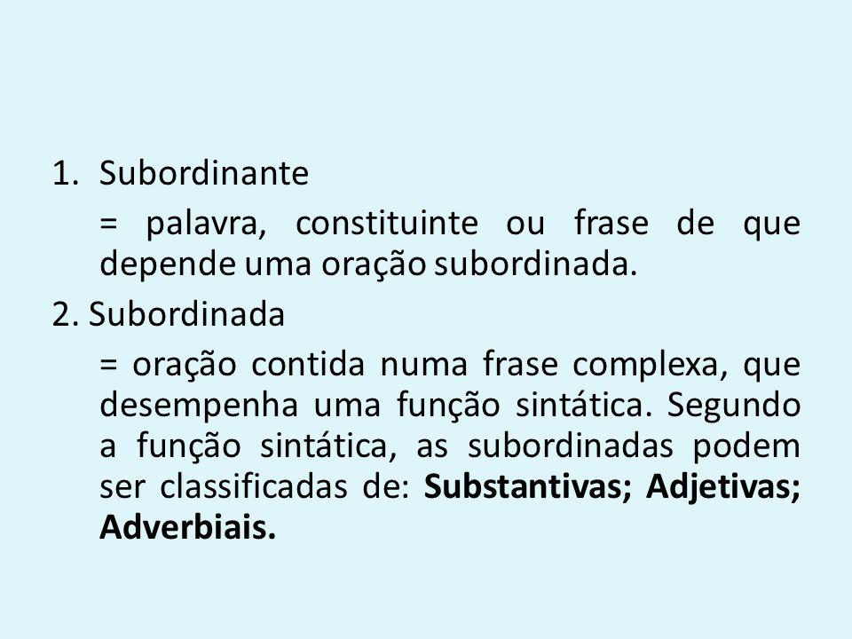 1.Subordinante = palavra, constituinte ou frase de que depende uma oração subordinada. 2. Subordinada = oração contida numa frase complexa, que desemp