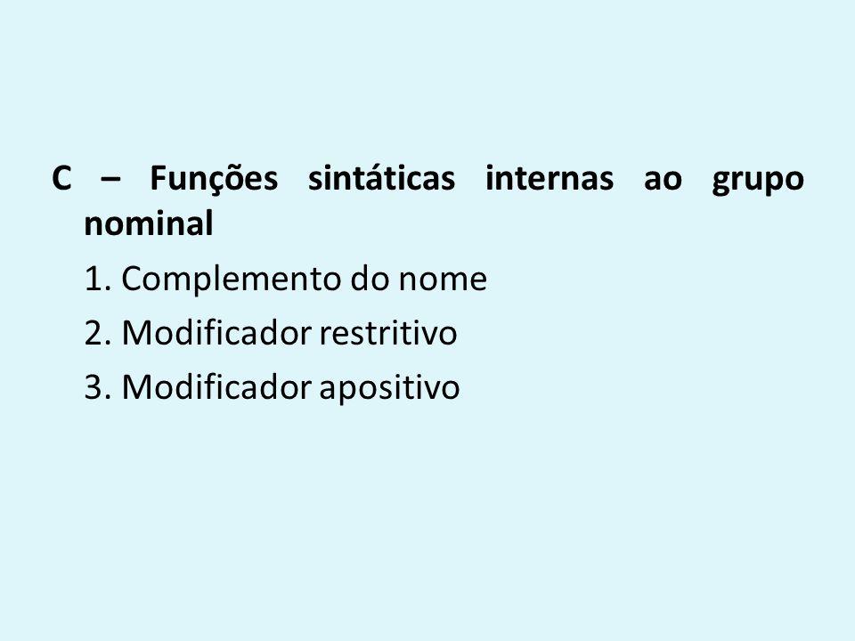 C – Funções sintáticas internas ao grupo nominal 1. Complemento do nome 2. Modificador restritivo 3. Modificador apositivo