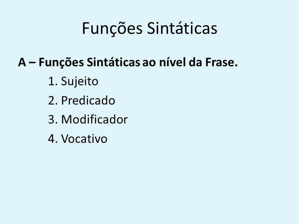 Funções Sintáticas A – Funções Sintáticas ao nível da Frase. 1. Sujeito 2. Predicado 3. Modificador 4. Vocativo