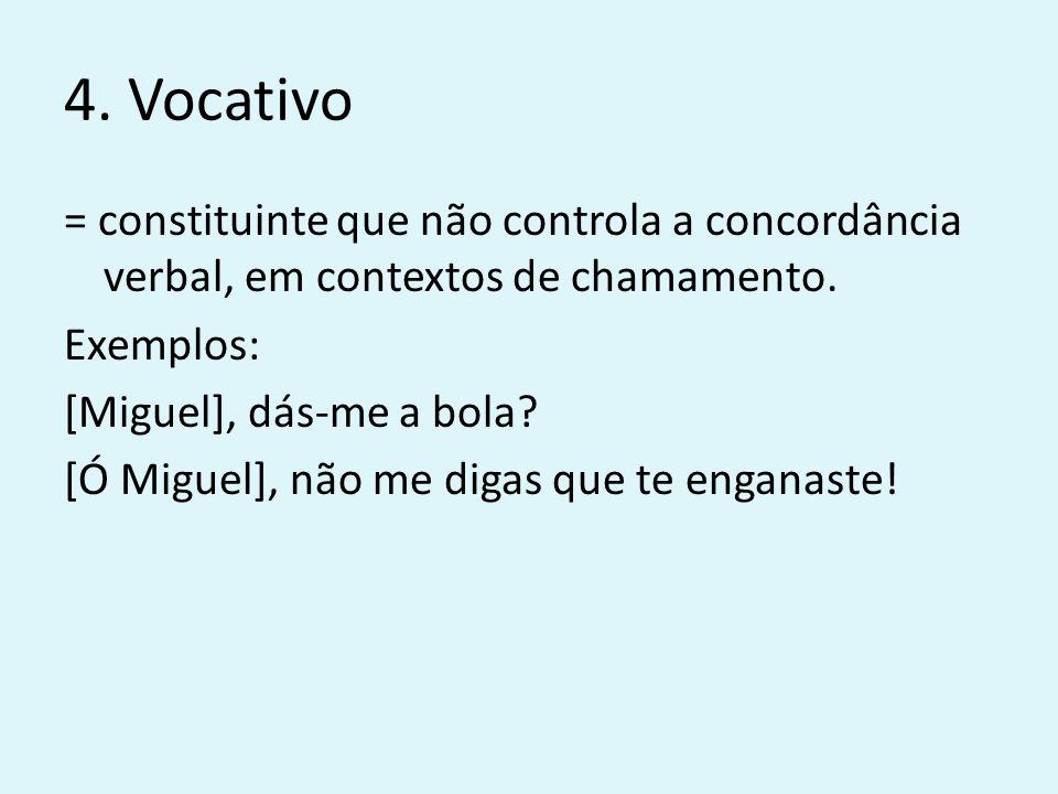 4. Vocativo = constituinte que não controla a concordância verbal, em contextos de chamamento. Exemplos: [Miguel], dás-me a bola? [Ó Miguel], não me d