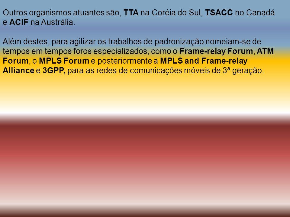 Outros organismos atuantes são, TTA na Coréia do Sul, TSACC no Canadá e ACIF na Austrália. Além destes, para agilizar os trabalhos de padronização nom