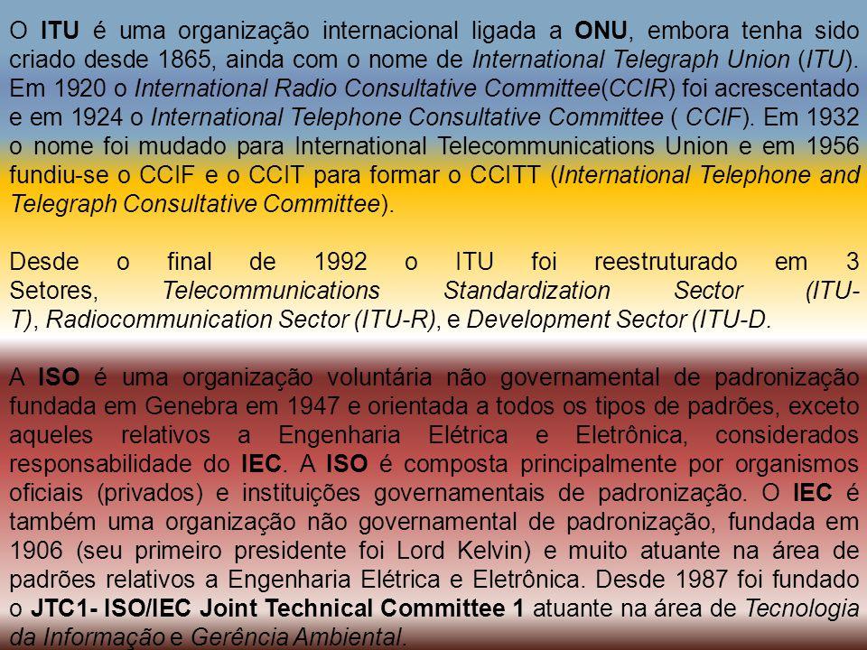 O ITU é uma organização internacional ligada a ONU, embora tenha sido criado desde 1865, ainda com o nome de International Telegraph Union (ITU). Em 1