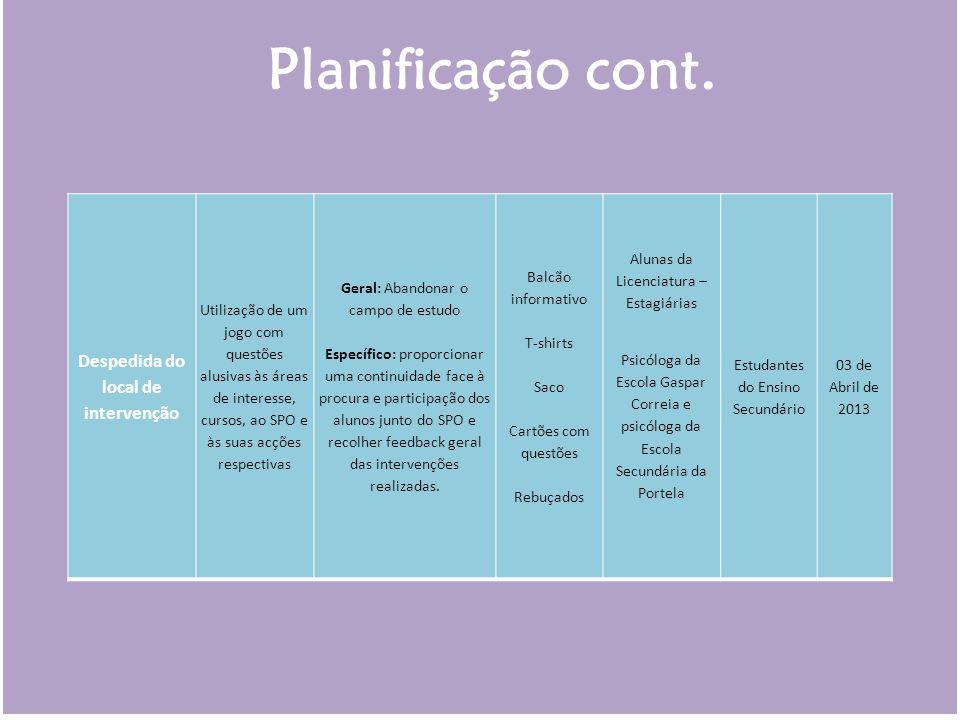 Despedida do local de intervenção Utilização de um jogo com questões alusivas às áreas de interesse, cursos, ao SPO e às suas acções respectivas Geral