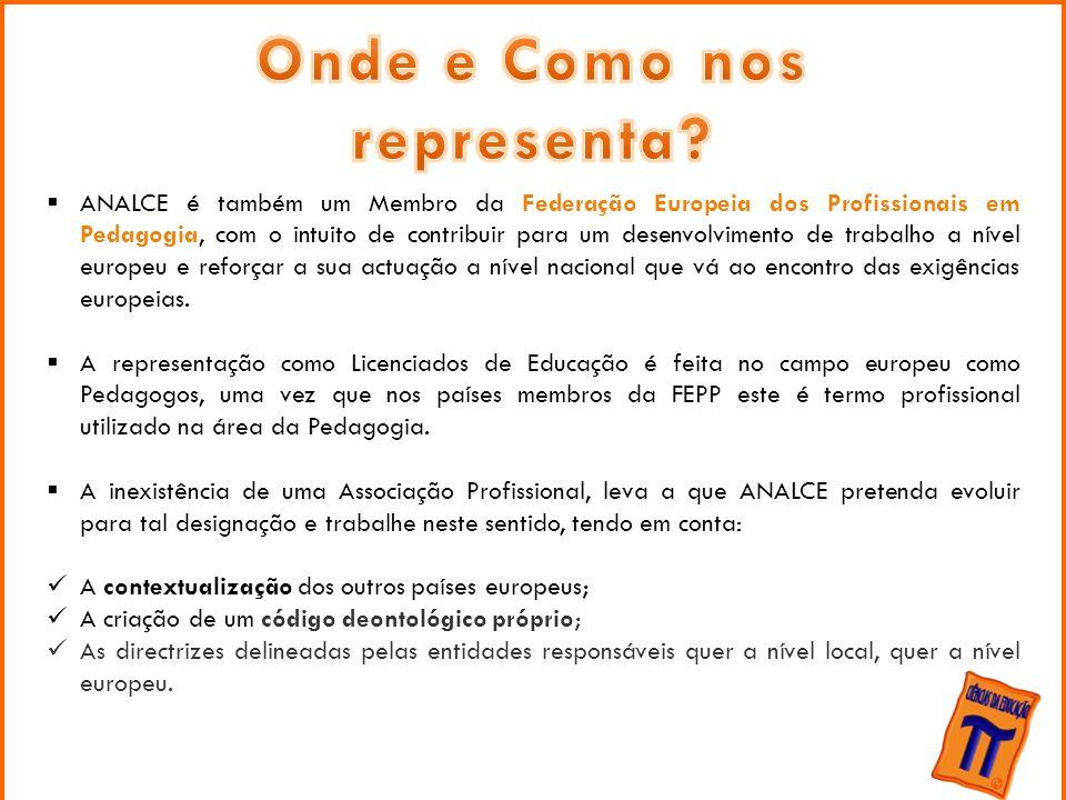 Federação Europeia dos Profissionais em Pedagogia  ANALCE é também um Membro da Federação Europeia dos Profissionais em Pedagogia, com o intuito de c