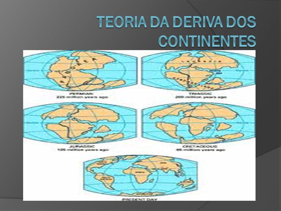 Wegener e a sua teoria  A deriva dos continentes consiste no deslocamento da crosta terrestre, o que leva ao deslocamento e as alterações do relevo da Terra.