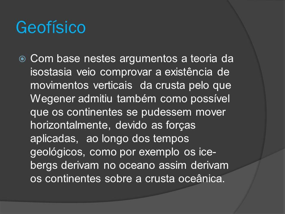 Geofísico  Com base nestes argumentos a teoria da isostasia veio comprovar a existência de movimentos verticais da crusta pelo que Wegener admitiu ta