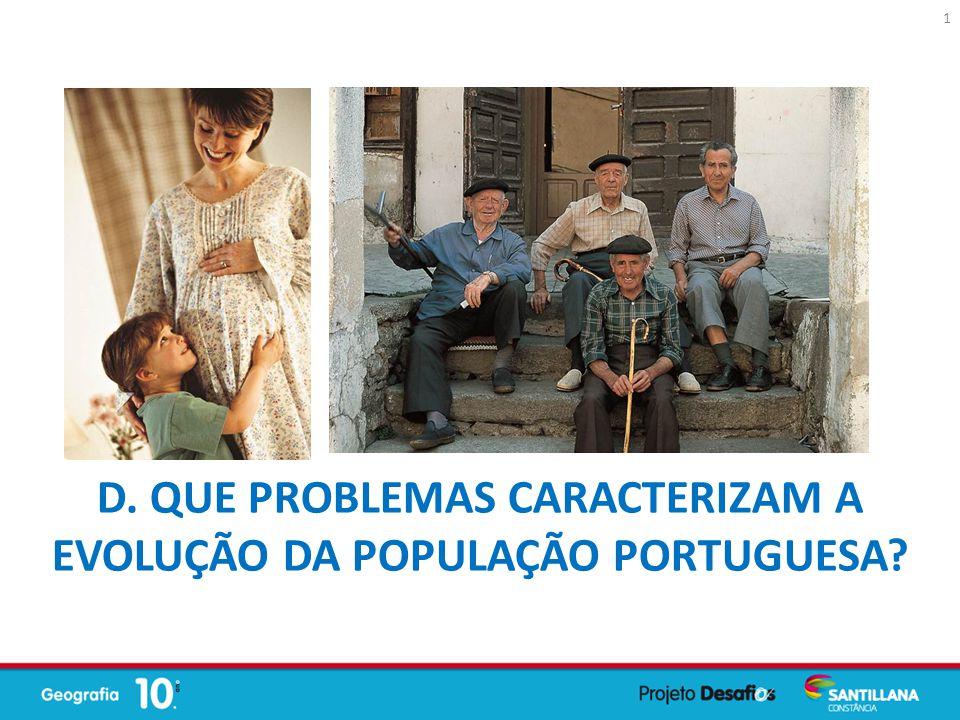 D. QUE PROBLEMAS CARACTERIZAM A EVOLUÇÃO DA POPULAÇÃO PORTUGUESA? 1