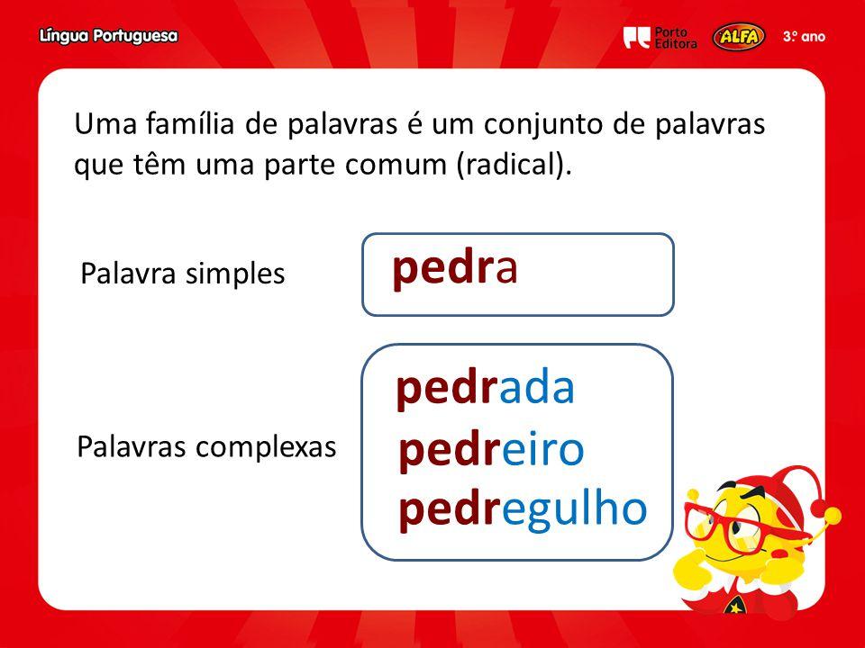 Uma família de palavras é um conjunto de palavras que têm uma parte comum (radical).