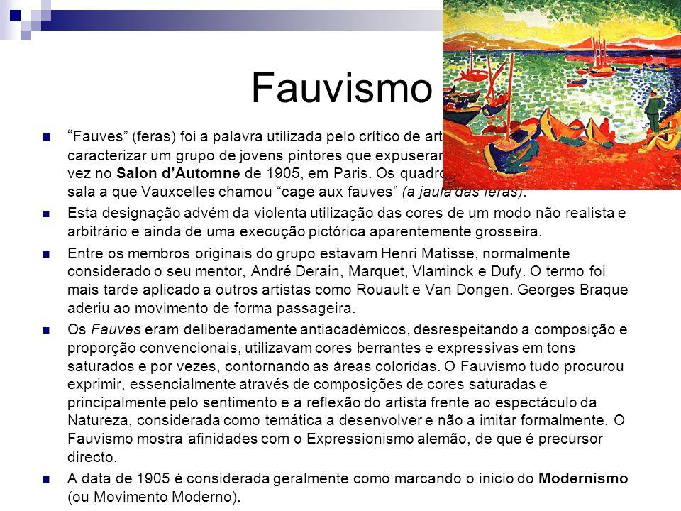 Fauvismo Fauves (feras) foi a palavra utilizada pelo crítico de arte Louis Vauxcelles para caracterizar um grupo de jovens pintores que expuseram em conjunto pela primeira vez no Salon d'Automne de 1905, em Paris.
