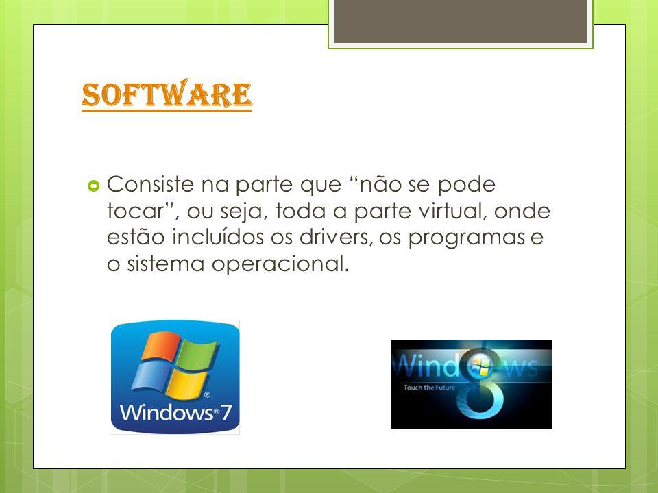 """Software  Consiste na parte que """"não se pode tocar"""", ou seja, toda a parte virtual, onde estão incluídos os drivers, os programas e o sistema operaci"""